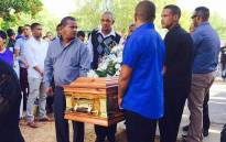 Cries filled the air as the coffins of the three victims of the Franschhoek bus crash were carried into the church on 14 March 2015. Picture: Monique Mortlock/EWN