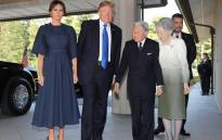 US President Donald Trump and First Lady Melania are welcomed by Emperor Akihito and Empress Michiko at the Imperial Palace in Tokyo on 6 November, 2017. Picture: AFP.