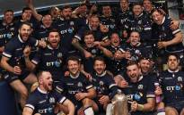 Scottish rugby team players celebrate after winning the Calcutta Cup on Saturday 24 February 2018. Picture: Twitter/@Scotlandteam