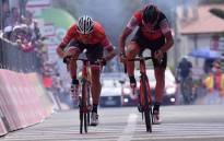 Jasper Stuyven of Trek-Segafredo (left) and BMC's Silvan Dillier sprint for the finish line on Stage 6 of the Giro d'Italia. Picture: @giroditalia/Twitter