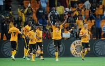 Kaizer Chiefs players celebrate with their fans after Matthew Rusike's second goal during their win against Polokwane City at the FNB Stadium on 22 April 2015. Chiefs won 4-1. Picture: PSL.
