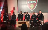 Stellenbosch Kings team owner Preity Zinta (second left) with the key players and coaches. Picture: @T20GL_/Twitter