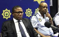 Police Minister Fikile Mbalula giving feedback about arrests made in connection with 11 murders in Marikana Informal Settlement in Philippi East in September. Picture: Shamiela Fisher/EWN.