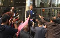 Suspended Ipid boss Robert McBride addresses the media at the Constitutional Court. Picture: Vumani Mkhize/EWN.