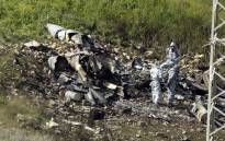 """A picture taken in the northern Israeli Kibbutz of Harduf on 10 February, 2018, shows the remains of an Israel F-16 that crashed after coming under fire by Syrian air defences during attacks against """"Iranian targets"""" in the war-torn country. Picture: AFP."""