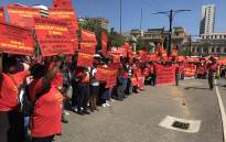 Members of the SACP picketing outside the National Treasury in Pretoria. Picture: Barry Bateman/EWN.