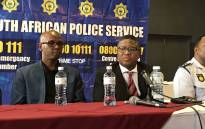 Police Minister Fikile Mbalula (centre) in Nyanga. Picture: Kevin Brandt/EWN.