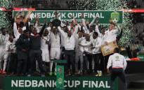Free State Stars players celebrate winning Nedbank Cup victory against Maritzburg United. Picture: freestatestars.co.za.