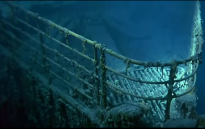 A screengrab of a replication of the Titanic remains.
