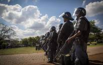 FILE: Public Order Police stand guard at the Union Buildings in anticipation of a march. Picture: Thomas Holder/EWN