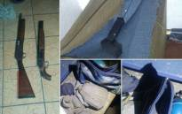 Mitchells Plain police found a hidden arms cache in Tafelsig on Sunday 21 May 2017. Picture: @SAPoliceService/Twitter