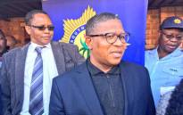 Police Minister Fikile Mbalula at a house in Dobsonville where chemicals and other manufacturing equipment have been found. Picture: Katleho Sekhotho/EWN