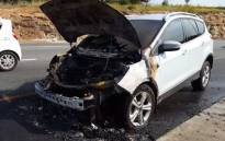 A screengrab of the Ford Kuga vehicle that caught alight on the N12 near the Voortrekker off-ramp in Alberton.
