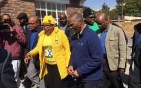 Former president Thabo Mbeki arrives at the Holy Family College in Rosebank to cast his vote. Picture: Gia Nicolaides/EWN.