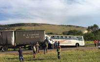 A bus ferrying 108 pupils from the Izanokhanya Primary School collided with a truck in Westonaria, south-west of Johannesburg on Tuesday 23 January 2018. Picture: Ihsaan Haffejee/EWN