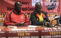 Saftu leadership brief the media on their planned mass action against the propose national minimum wage. Picture: EWN