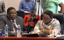 A screengrab shows Minister of Social Development Bathabile Dlamini (L) on the second day of the inquiry into the social grants crisis, on 23 January 2018.