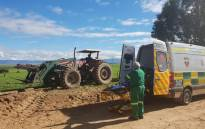 Paramedics on the scene of a bus accident that claimed the life of a child near Porterville, Western Cape. Picture: Billy Claasen.