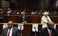 Former president Jacob Zuma sits inside Durban High Court. Picture: Credit: Felix Dlangamandla/Pool Photo