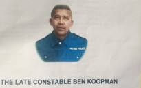 FILE: A picture of slain Metro Police Officer Constable Ben Koopman seen at his memorial service in Khayelitsha on 24 February. Picture: Xolani Koyana/ EWN.