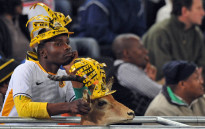A Kaizer Chiefs' fan looks on next to his antelope during a match. Picture: AFP.