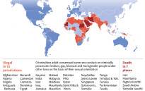 World map showing different countries' laws on homosexuality.