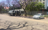 A strong police presence outside the University of Pretoria's Hatfied campus following violent protests. Picture: EWN/Kgothatso Mogale.