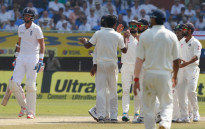 Indian players celebrate the fall of a wicket. Picture: @englandcricket.