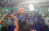 FILE: The Cape Cobras celebrate after winning the RAM SLAM T20 Challenge on 12 December 2014. Picture: Twitter via @Batty0810.