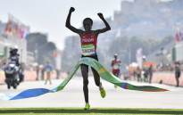 file: Kenya's Jemima Jelagat Sumgong raises her arms in victory as she crosses the finish line of the Women's Marathon during the athletics event at the Rio 2016 Olympic Games at Sambodromo in Rio de Janeiro on August 14, 2016. Picture: AFP.