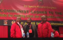 SACP top leaders, Senzeni Zokwana and Blade Nzimande as well as ANC Secretary General Gwede Mantashe at the special national congress on 8 July 2015. Picture: Govan Whittles/EWN.