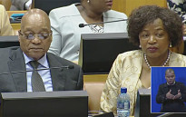 A screengrab of President Jacob Zuma and parliamentary speaker Baleka Mbete watching on during the 2016 State of the Nation debate on 16 February 2016.