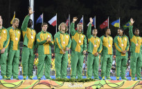 The South African Rugby Sevens team celebrates on the podium during the medal ceremony at the Rio 2016 Olympic Games at Deodoro Stadium in Rio de Janeiro on August 11, 2016. Picture: AFP