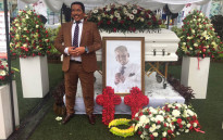 A mannequin of the late Sfiso Mcwane has been placed near his coffin. Picture: Kgothatso Mogale/EWN.