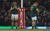 South Africa's flanker Nizaam Carr and South Africa's Steven Kitshoff (R) react to their loss after the rugby union test match between Wales and South Africa at the Principality stadium in Cardiff, on 26 November 2016. Picture: AFP.
