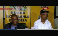 ANC secretary-general Ace Magashule  (L) and party spokesperson Pule Mabe (R) brief the media after a NEC meeting on Sunday 25 February 2018. Picture: Screengrab
