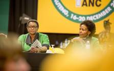 Bathabile Dlamini (left) sits with other ANC Women's League members in the plenary at the party's 54th national conference on 16 December 2017. Picture: Thomas Holder/EWN