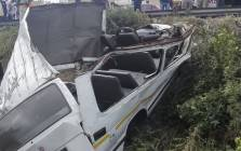 FILE: The wreckage of a taxi that crashed on the M1 North between Marlboro Drive and Buccleuch Road. Picture: Netcare911