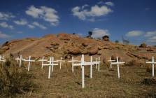 Crosses placed during 2012 for the 34 miners killed in the Marikana shooting. Picture: EPA.