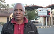 The National Union of Mineworkers' Phillip Mankge outside the Palabora Mining Company in Phalaborwa, Limpopo. Picture: Louise McAuliffe/EWN