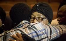 Struggle stalwart Winnie Madikizela-Mandela hugs a woman after a memorial briefing for anti-apartheid activist Ahmed Kathrada on 28 March 2017. Picture: Reinart Toerien/EWN
