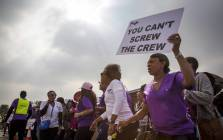 SA Cabin Crew Association members on strike. Picture: Thomas Holder/EWN