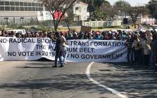 About 600 people marched o the JSE on 28 February demanding jobs. Picture: Kgothatso Mogale/EWN.