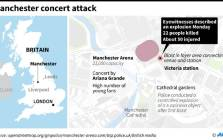 Map showing the Manchester Arena where at least 22 people were killed in a suspected terror attack during a concert by US star Ariana Grande on Monday.