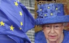 A screengrab of Queen Elizabeth II's hat.