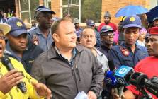 George van der Merwe, chief operating officer at the Optimum Mine receives a memorandum of demands from workers at the mine on 22 February 2018. Picture: Pelane Phakgadi/EWN