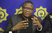 Police Minister Fikile Mbalula visited the Hout Bay Police Station following violent protests in the Imizamo Yethu area. Picture: Cindy Archillies/EWN