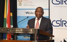 Deputy President Cyril Ramaphosa delivers a keynote address at the 5th CSIR conference, themed 70 years of Ideas that work, held at CSIR International Convention Centre, Pretoria, on 08 October 2015. Picture: GCIS.