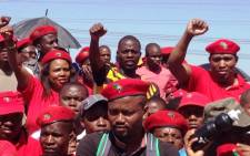 Economic Freedom Fighters wait for leader Julius Malema's address at the official party launch in Marikana on 13 October 2013. Picture: Reinart Toerien/EWN