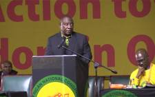 Deputy President Cyril Ramaposa addressing delegates at the 25th national youth congress. Picture: Kgothatso Mogale/EWN